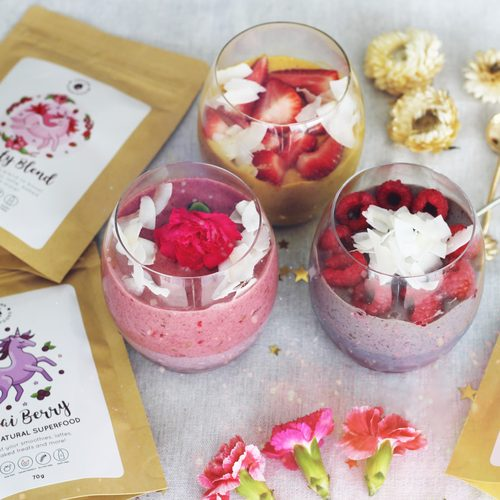 Unicorn Superfood acai poeder chia pudding recept